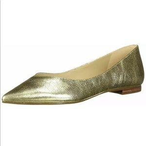 MARC FISHER Analia Gold Pointed Toe Flats 9.5M NIB